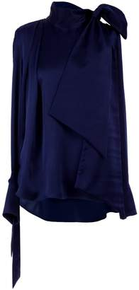 Adelina Rusu Navy Hammered Silk Satin Blouse