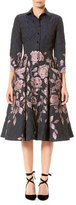 Carolina Herrera Elbow-Sleeve Floral Jacquard Shirtdress
