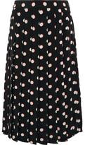 Marc Jacobs Pleated Polka-dot Silk Crepe De Chine Skirt - Black