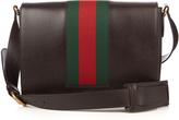 Gucci Web-panel leather messenger bag