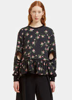 Preen Women's Kia Daffodil Print Cut-Out Sweater in Black