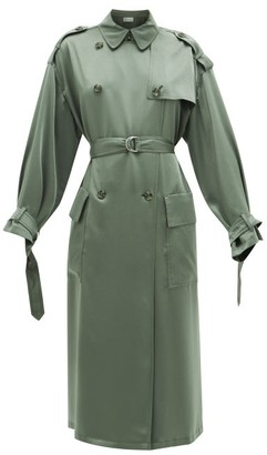 RED Valentino Belted Satin Trench Coat - Womens - Khaki