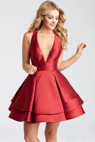 Jovani JVN55413 Plunging V Neck Cocktail Dress