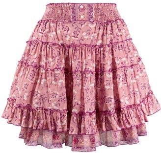 Poupette St Barth high-waist tiered skirt
