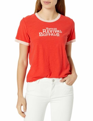 Buffalo David Bitton Women's Round Neck Short Sleeves Contrast Ribbed Trimming and Front Lettering