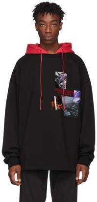 Juun.J Black and Red Print Hoodie