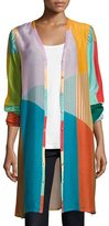 Johnny Was Busch Button-Front Colorblocked Cardigan, Multi, Plus Size