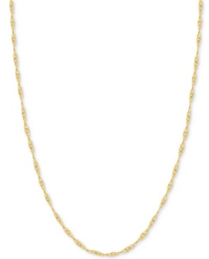 """Italian Gold 24"""" Singapore Chain Necklace (7/8mm) in 14k Gold"""
