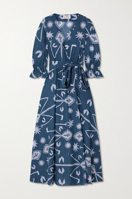 ARoss Girl x Soler Amanda Belted Printed Cotton-voile Maxi Dress - Blue