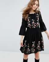 Vero Moda Floral Embroidered Flute Sleeve Dress