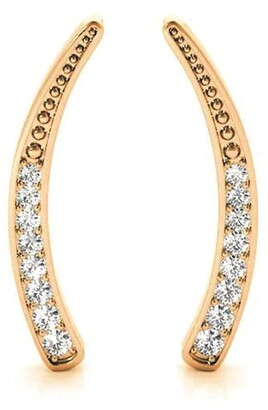 Amcor Design 14K Gold 0.28 CT Journey Ear Climbers Prong Round Cut Diamond Earrings