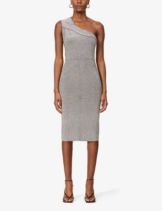 Reiss Lordes one-shoulder metallic stretch-knit midi dress