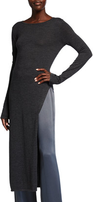 Sally LaPointe Wool-Blend Long Side-Slit Tunic Top