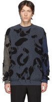 Stella McCartney Navy and Grey Intarsia Leopard Sweater