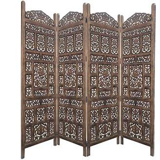 Benjara Classic 4 Panel Mango Wood Screen with Intricate Carvings