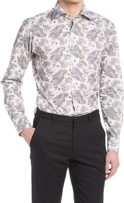 Eton Slim Fit Paisley Button-Up Dress Shirt