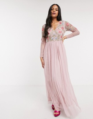 Lace & Beads floral embellished long-sleeve maxi dress in pink