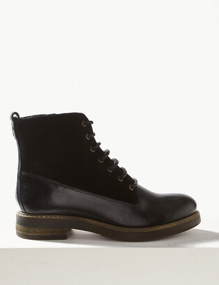 Marks and Spencer Leather Panel Lace-up Ankle Boots