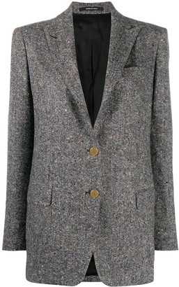 Tagliatore Single-Breasted Speckled Wool Blazer