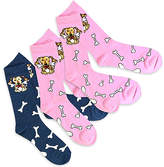 Pink & Denim Spotted Dog Three-Pair Socks Set