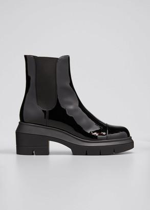 Stuart Weitzman Norah Patent Lug-Sole Ankle Booties
