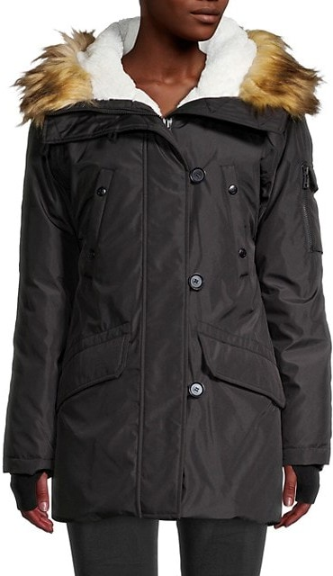 Thumbnail for your product : S13 Faux Fur-Trim Hooded Jacket