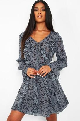boohoo Dalmatian Print Ruffle Long Sleeve Skater Dress