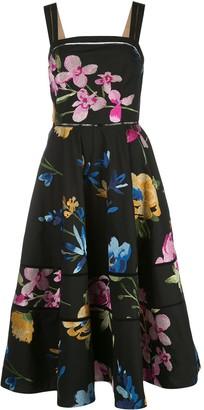 Marchesa Flared Floral Print Dress