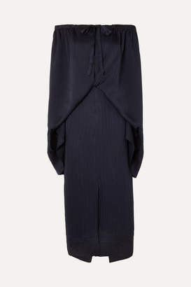 Roland Mouret Hinsby Off-the-shoulder Layered Hammered-silk Dress - Navy