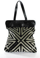 Coccinelle Gray Black Abstract Print Patent Trim Shopper Tote Handbag