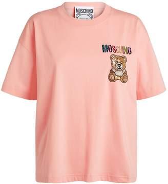 Moschino Crystal-Embellished Teddy Bear T-Shirt