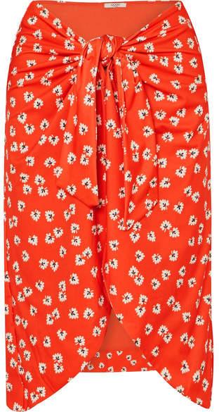 Ganni Columbine Floral-print Stretch-jersey Pareo - Red