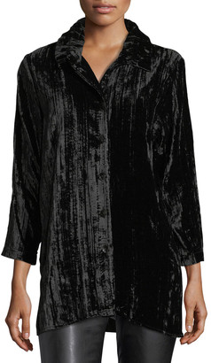Caroline Rose Plus Size Long Crinkled Velvet Shirt