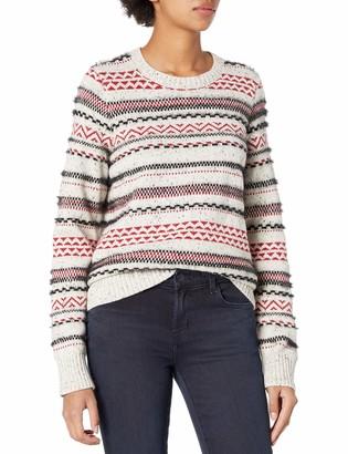 Lucky Brand Women's Crew Neck Striped Fairisle Sweater