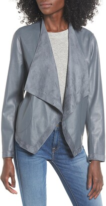 BB Dakota Teagan Reversible Faux Leather Drape Front Jacket