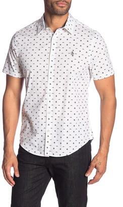 Original Penguin Top Hat & Mustache Patterned Short Sleeve Heritage Slim Fit Shirt