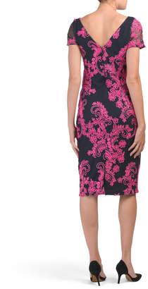 Short Sleeve Illusion Soutache Cocktail Dress
