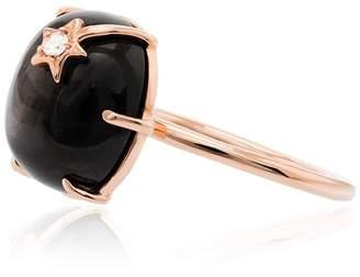 Andrea Fohrman 18K rose gold and black Moon Stone mini quartz diamond ring