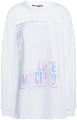 Love Moschino Iridescent Printed French Cotton-blend Terry Sweatshirt