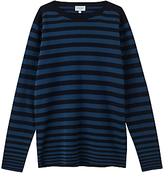 Jigsaw Cotton Engineered Breton Knitted Jumper, Navy