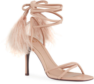 Valentino 100mm Ostrich Feather Ankle-Wrap Stiletto Sandals