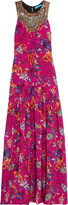 Matthew Williamson Embellished printed washed-silk maxi dress