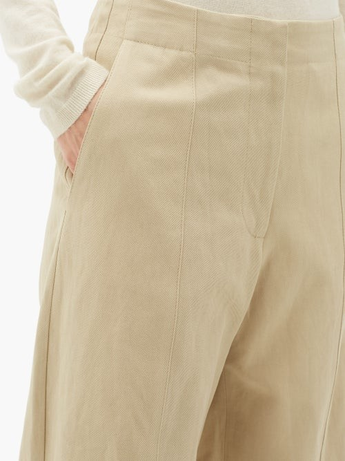 Thumbnail for your product : Raey Front-seam Cotton And Linen-blend Chino Trousers - Tan