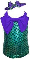 JiaDuo Baby Girls' Mermaid One Piece Swimsuit Swimwear with Headband
