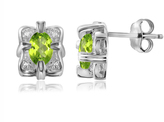 1 CT TW Oval-Shaped Peridot Silver Earrings with Diamond Accents by JewelonFire