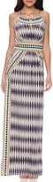 London Times Sleeveless Keyhole Halter Maxi Dress - Petite