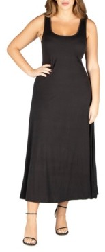 24seven Comfort Apparel Women's Plus Size Simple A Line Tank Maxi Dress
