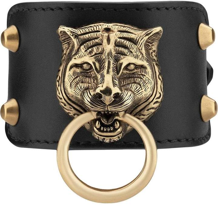 Gucci Leather bracelet with feline head