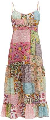 Saloni Bella Patchwork-print Seersucker Midi Dress - Womens - Multi