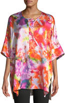 Lafayette 148 New York Selene Half-Sleeve Printed Silk Top